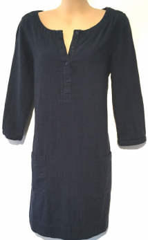 FAT FACE NAVY BLUE CHECKED TUNIC TOP SIZE UK 12